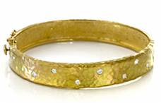Yellow-gold, bangle, hammered bracelet, fine jewelry, NJ