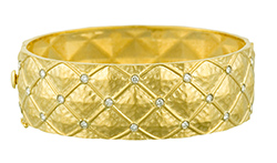 Yellow-gold, bracelet, bangle, Hammered, diamonds, HERCO Jewelry, Lee Richards Fine Jewelry, Point Pleasant, NJ,