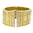Yellow-gold cuff, bracelet, bangle, textured, diamonds, fine jewelry, jewelers in NJ,