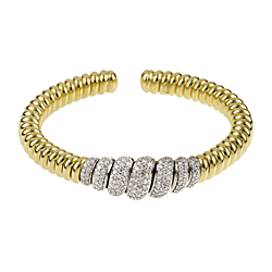Yellow Gold, coiled cuff, bracelet, bangle, diamonds, flexible, fine jewelry, local jeweler in NJ,