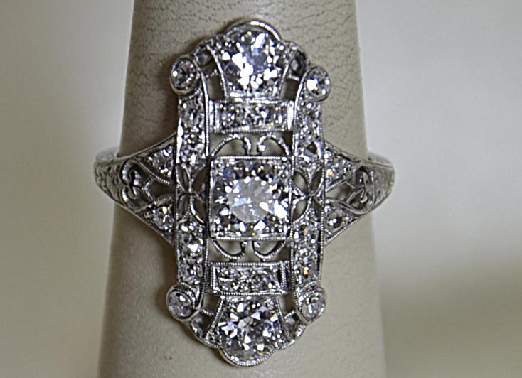 Vintage diamond ring, antique, pre-owned, gold, white-gole, fine jewelry, jewelers in NJ,