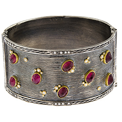 silver bangle, bracelet, 14k gold, ruby, diamonds, fine jewelry in NJ, Ocean County,