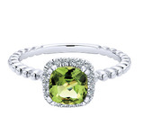 White Gold Diamond Peridot, stackable, Ladies Ring, Fine Jewelry, NJ